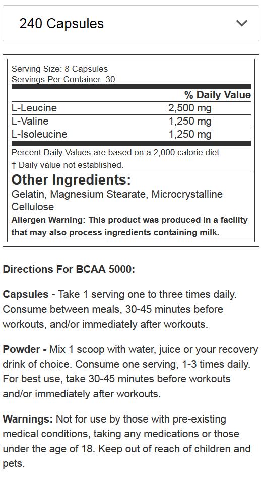 EVL NUTRITION BCAA 240caps NF