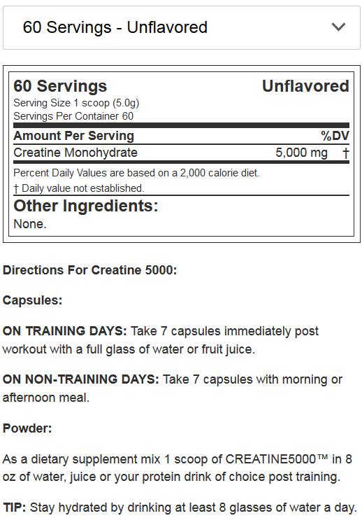 EVL NUTRITION Creatine 5000 NF